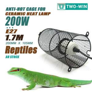 200W Reptile Heat Lamp Ceramic E27 Anti-Hot Cage Holder Switch Pet Brooder