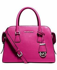 Michael Kors M Satchel tote Harper Pink raspberry Shoulder Leather Zip Purse Nwt