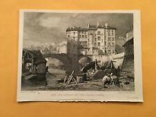 KJ) Original 1834 The Old Bridge On Soane Lyons France Annual Engraving