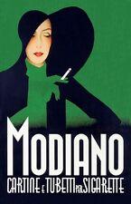 ART DECO 1930's ITALIANA MODIANO ROLLING PAPERS Pubblicità Poster A3 RISTAMPA