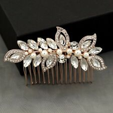 Bridal Hair Comb Pearl Crystal Headpiece Wedding Accessories 04096 ROSE GOLD New