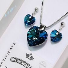 Bermuda Blue Heart Swarovski Elements Necklace Crystal Earrings Set Ladies !