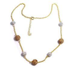 Gold-Tone Champagne & Gray Crystals Shamballa Disco 8-10 mm Balls Necklace