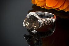 Schmuck Exklusiver Rauchquarz Ring mit Brillanten weiß & braun in 750 Weißgold