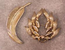 Pin Closure Jl 134 Monet Brooch Goldtone Feather Wreath