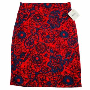 Lularoe Cassie Retro Floral Red Navy Pencil Skirt Pull On Women Midi Size XL NWT