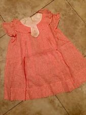 VINTAGE LITTLE  GIRLS 1940's RED FRENCH LINEN DRESS