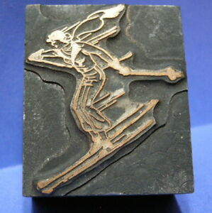 Antique Printer's Block. ART DECO GIRL on SKIS.1915-20's, Brass on Wood. SCARCE