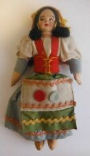 7 Inch Stitched Cloth Doll With Wooden Head