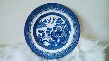 blue willow plate, Churchill white plate with blue oriental decor Staffordshire