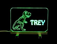 "Personalized T-Rex Acrylic Desk Table Sign - Kids Lamp Night Light 3/8"" Acrylic"