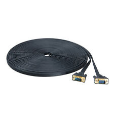50ft Thin Flat 15 Pin VGA to VGA Cable Male to Male Computer Monitor SVGA Cord