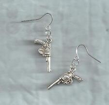 Guns/Pistols earrings-double-sided silver tibetan metal charms, drop/dangle/hook