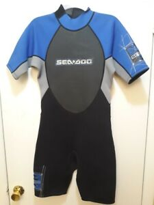 NEW Sea-doo BRP Shorty Wetsuit 4 Way Flex Blue Gray Sd8117 Cool Graphics Small