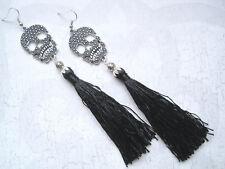 SKULL CHARM BLACK TASSLE Long Drop Earrings SP BURLESQUE Tassel Dangle HALLOWEEN