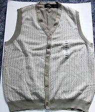 Studio Bill Blass Beige Tan Sweater Vest Chevron Pattern Cardigan Style Size XL