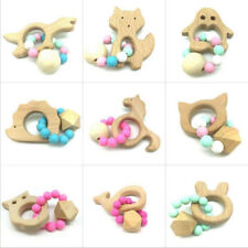 1pcs Wooden Teether Cartoon animal shape Safety Beaded Baby Molar Stick Toy