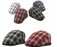 Mens Plaid Ivy Hat Cotton Newsboy Gatsby Cap Golf Driving Flat Cabbie Beret Hat