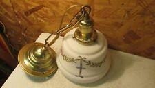 Antique Brass Pendant Light Fixture & Art Nouveau Shade
