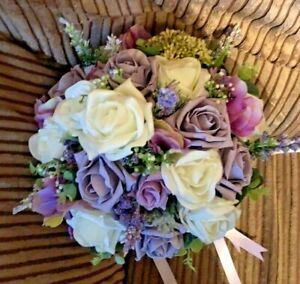 Scottish Wedding Posy Bouquet Thistles, Lavender in Ivory & Lilac