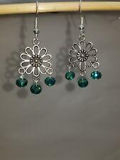 Beautiful crystal sterling silver dangle earring.