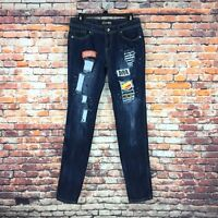 Dereon Womens Size 7/8 Slim Straight Distressed Patched Embellished Denim Jeans