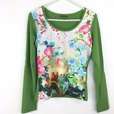 Oilily Top Womens Small Green Floral Bird Print Long Sleeve Tee Cotton Stretch