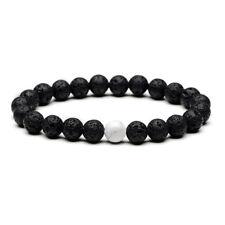 Meditation Zodiak Lava Stone Black White Marble Pattern Beads Yoga Healing Black