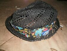BILLABONG SZ. SMALL/MEDIUM  GRAY PAPER STRAW FEDORA HAT-TROPICAL-NAME BUTTON