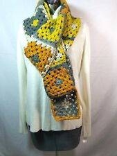 Scarf Handmade Crochet Granny Sq. Gray Beige Rust Chartreuse One Of A Kind NEW