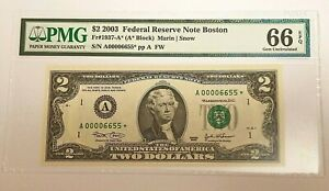 FR 1937-A* STAR 2003 $2 Federal Reserve Note 66 EPQ Low Serial Number