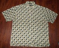 Men's Geoffrey Beene Causal Shirt ~ Size XL ~ Short Sleeve ~ Beige ~ Diamond's