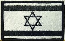 ISRAEL Flag Patch With VELCRO® Brand Fastener W & B Version. Black Border #21