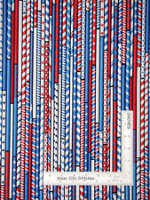 All American Patriotic Drinking Straw Stripe Cotton Fabric Benartex By The Yard