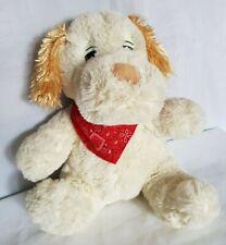 Stofftier Hund Gr. 31 x 26 cm Kuscheltier Creme mit roten Halstuch Kuschelhund