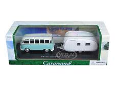 VOLKSWAGEN BUS SAMBA W/CARAVAN II TRAILER IN CASE 1/43 DIECAST CARARAMA 14813