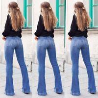 Womens High Waist Denim Jeans Flare Wide Leg Trousers Stretch Bottoms Long Pants