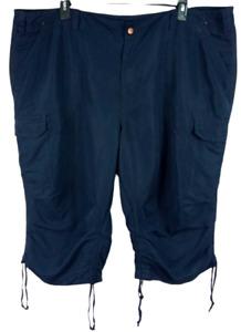 Venezia navy blue women's mid rise multi pockets plus size capri pants 28