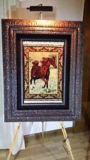 Bildteppich Pferd Original Hereke Türkei Unikat Seide auf Seide mit Zertifikat