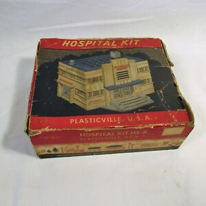 Vintage Plasticville Hospital with Second Floor and Furniture PLUS BOX!