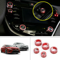 5x Red Audio Switch Button Knob Cover Trim For Toyota Camry 2018-2020 Aluminum