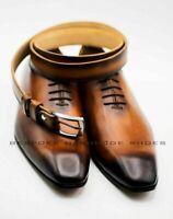Chaussures à lacets en cuir faites main pour hommes avec ceinture en cuir