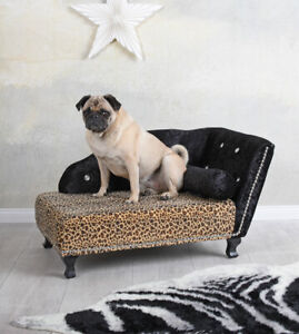 Royales Dog Sofa Leopard Dog Bed Sleeping Area Dog Basket Chaise Longue Pet Bed