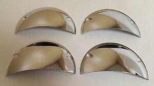 1958-1970 Chevrolet Headlight Headlamp Half Moon Chrome Covers Visor 5 3/4