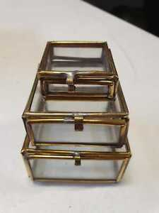 Moroccan set of 3 Glass Trinket Hinged Boxes with Lid - 54 sets - Free PP