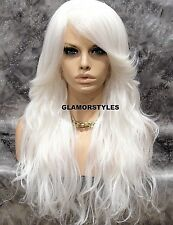 Human Hair Blend Full Wig Long Layered Wavy With Bangs White Hair Piece NEW