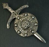Large 1952 Solid Silver Sword and Shield Celtic Brooch