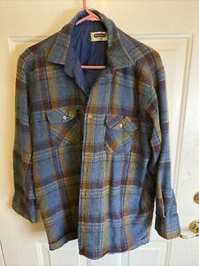 Vintage Arrow Shelter Bay Lined Wool Shirt XL Blue Gray Plaid