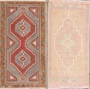 Pack of 2 Antique Style Hand-Knotted Geometric Anatolian Turkish Area Rug 2'x3'