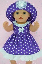 "Play n Wear Doll Clothes To Fit 17"" Baby Born  PURPLE POLKA DOT DRESS~HAT"